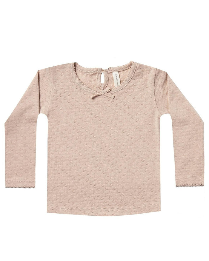 Little quincy mae baby girl pointelle longsleeve tee in petal