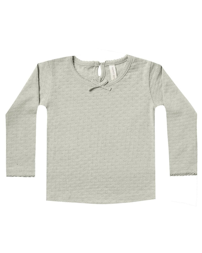 Little quincy mae baby girl pointelle longsleeve tee in sage