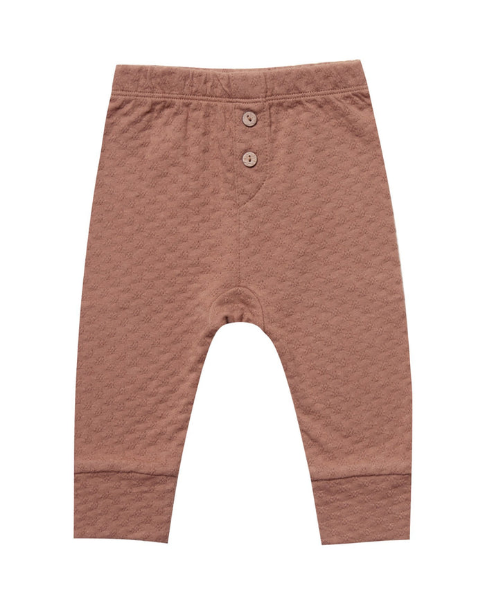 Little quincy mae baby girl pointelle pajama pant in clay