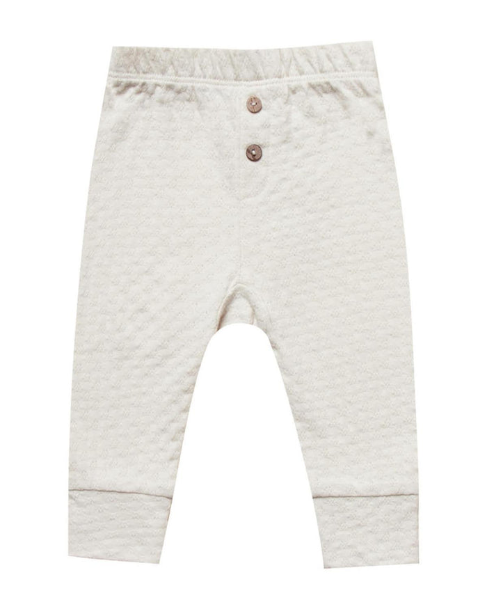 Little quincy mae baby girl 0-3 pointelle pajama pant in pebble