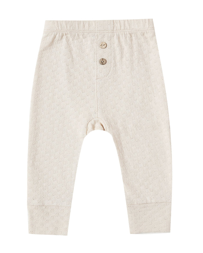 Little quincy mae baby girl pointelle pajama pant in pebble
