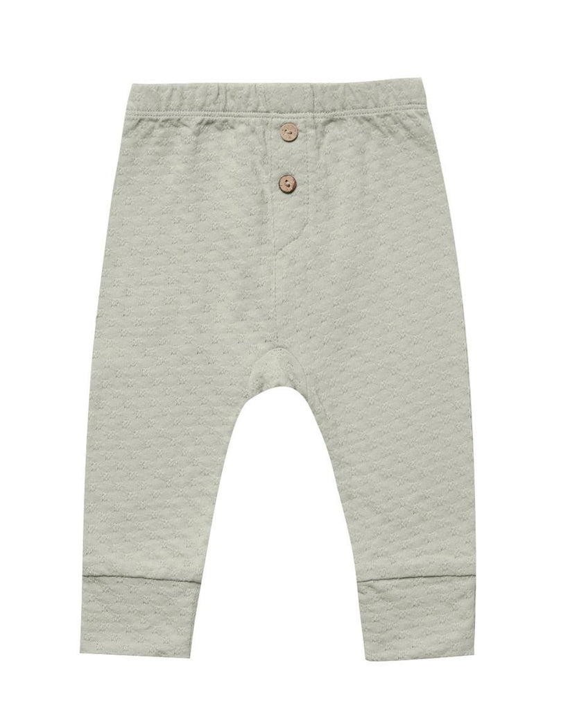 Little quincy mae baby girl pointelle pajama pant in sage