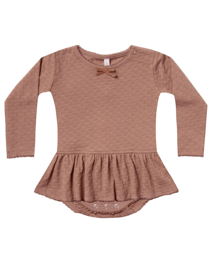 Little quincy mae baby girl pointelle skirted onesie in clay