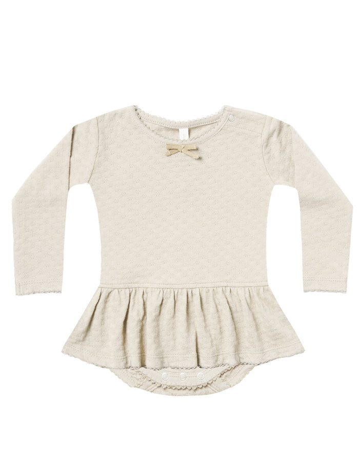 Little quincy mae baby girl pointelle skirted onesie in pebble