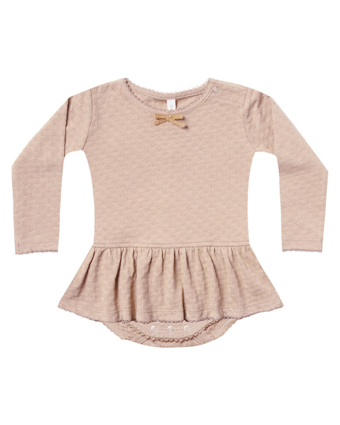Little quincy mae baby girl pointelle skirted onesie in rose
