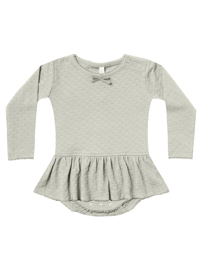 Little quincy mae baby girl pointelle skirted onesie in sage