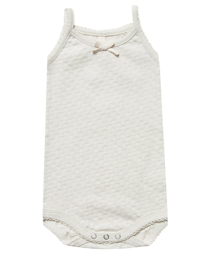 Little quincy mae baby girl 0-3 pointelle tank onesie in pebble