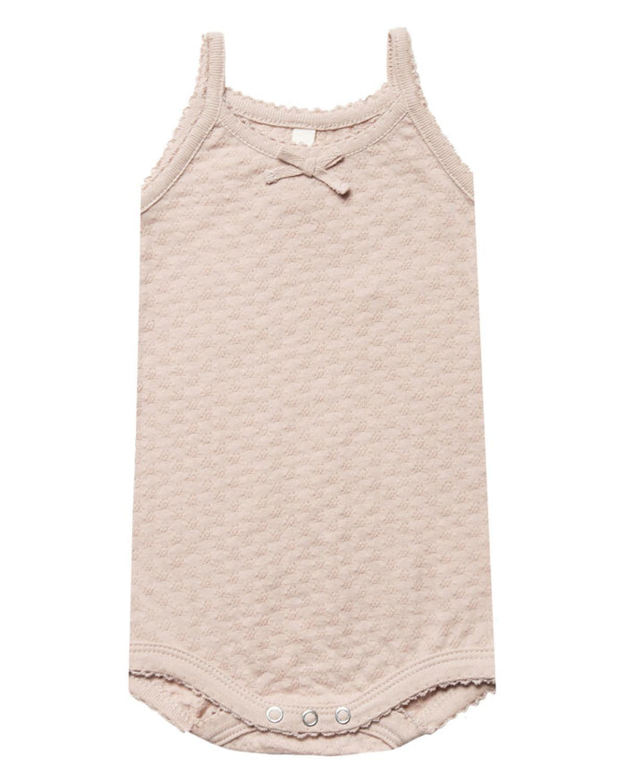 Little quincy mae baby girl 0-3 pointelle tank onesie in rose