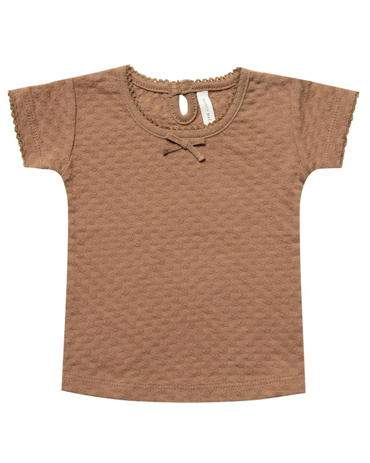 Little quincy mae baby girl 0-3 pointelle tee in copper