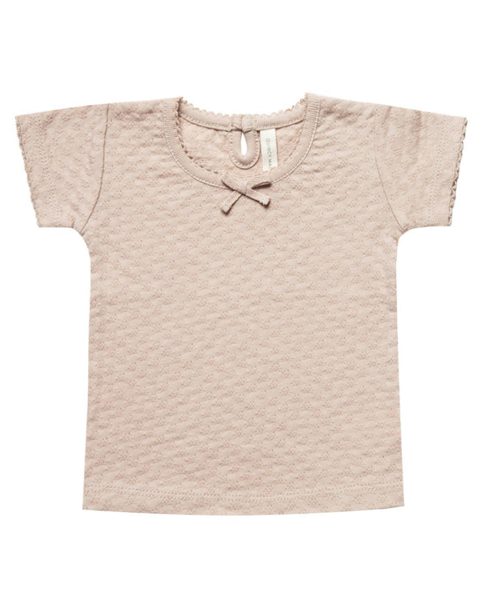 Little quincy mae baby girl 0-3 pointelle tee in rose