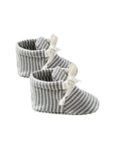 Little quincy mae baby accessories ribbed baby booties in eucalyptus stripe