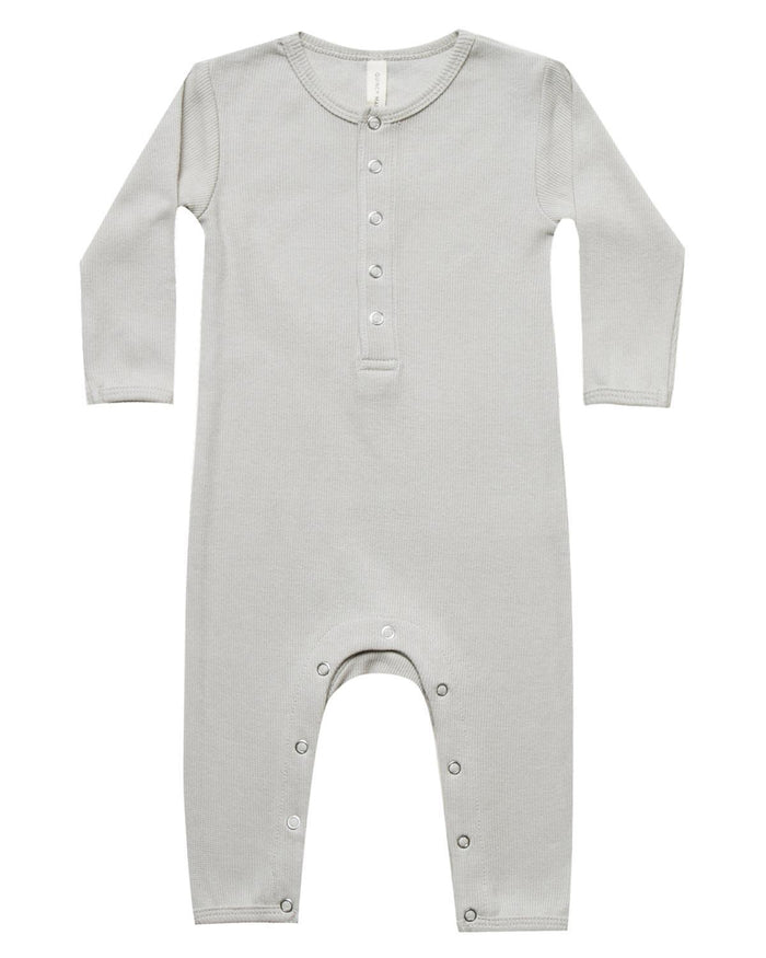 Little quincy mae baby girl 0-3 ribbed baby jumpsuit in ash