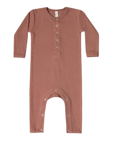 Little quincy mae baby boy 0-3 ribbed baby jumpsuit in clay
