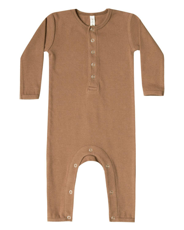 Little quincy mae baby girl 0-3 ribbed baby jumpsuit in copper