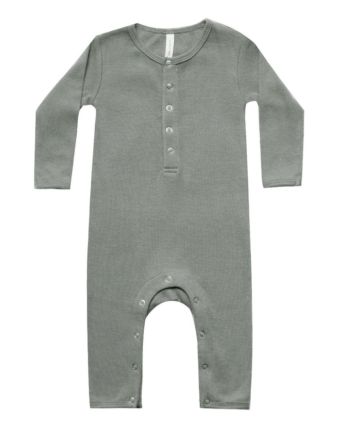 Little quincy mae baby girl ribbed baby jumpsuit in eucalyptus