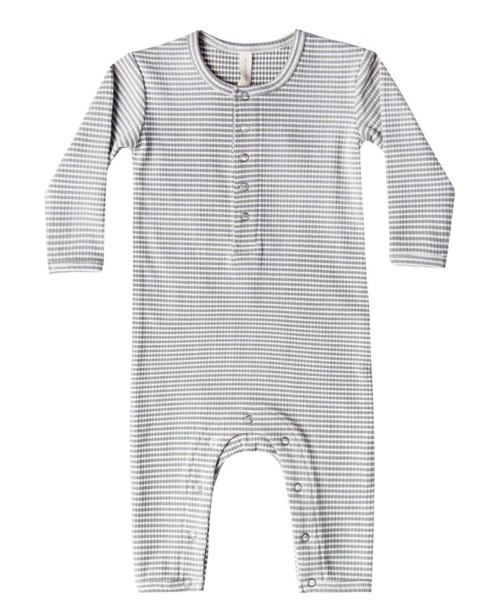 Little quincy mae baby girl ribbed baby jumpsuit in eucalyptus stripe