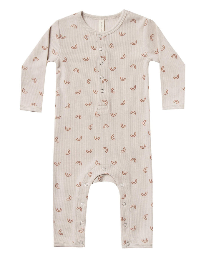Little quincy mae baby girl ribbed baby jumpsuit in stone