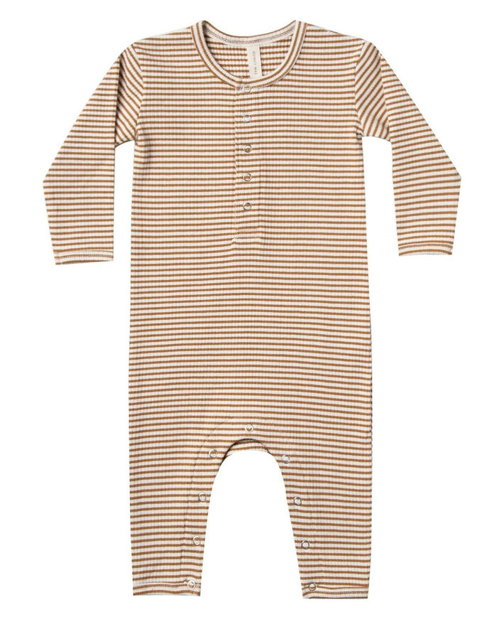 Little quincy mae baby girl ribbed baby jumpsuit in walnut stripe