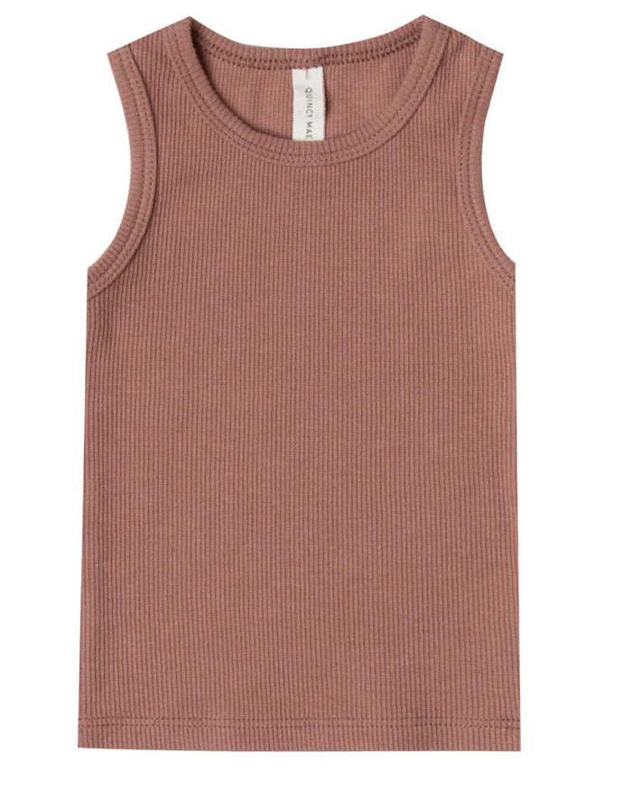 Little quincy mae baby boy 0-3 ribbed baby tank in clay