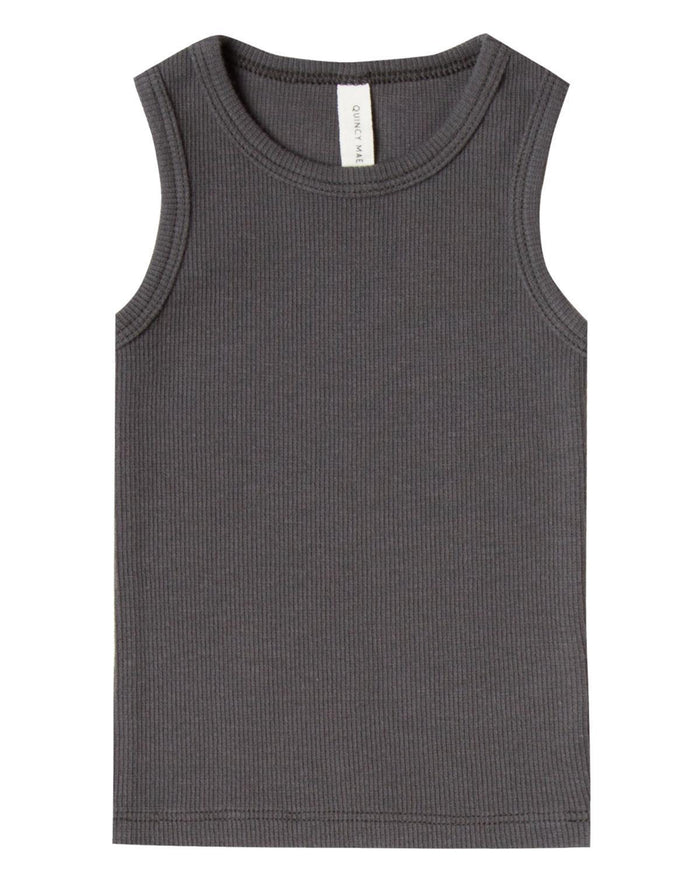 Little quincy mae baby boy 0-3 ribbed baby tank in coal