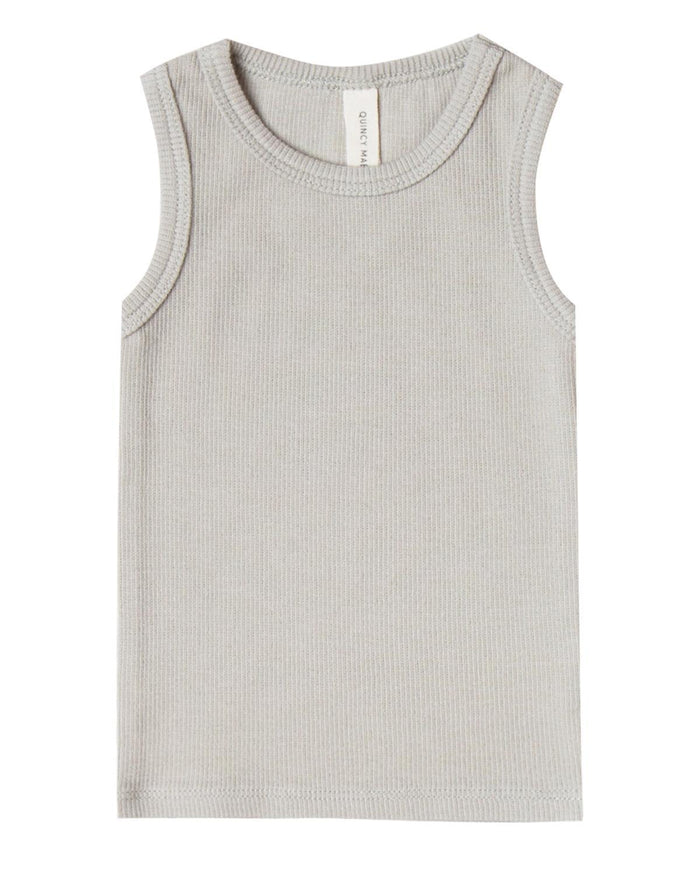 Little quincy mae baby girl 0-3 ribbed baby tank in dove