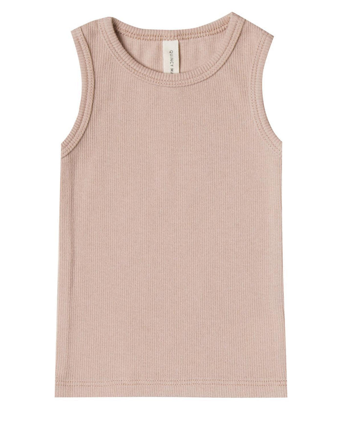 Little quincy mae baby girl 0-3 ribbed baby tank in rose