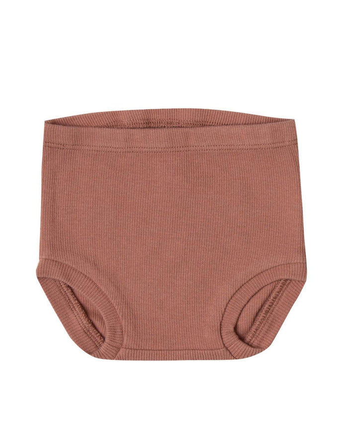 Little quincy mae baby boy 0-3 ribbed bloomer in clay