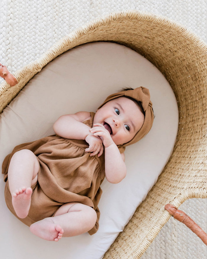 Little quincy mae baby girl 0-3 ribbed bloomer in copper