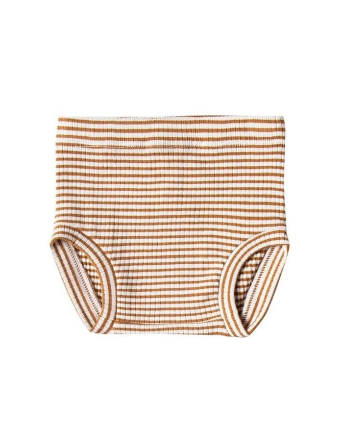 Little quincy mae baby girl ribbed bloomer in walnut stripe