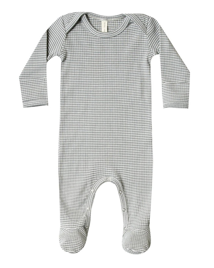 Little quincy mae baby girl ribbed footie in eucalyptus stripe