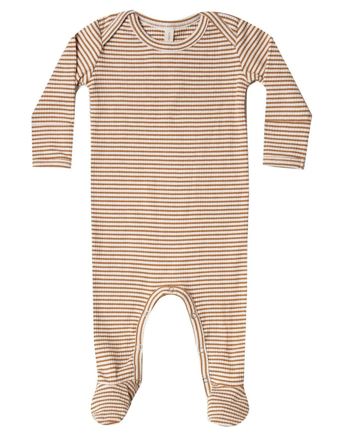 Little quincy mae baby girl ribbed footie in walnut stripe