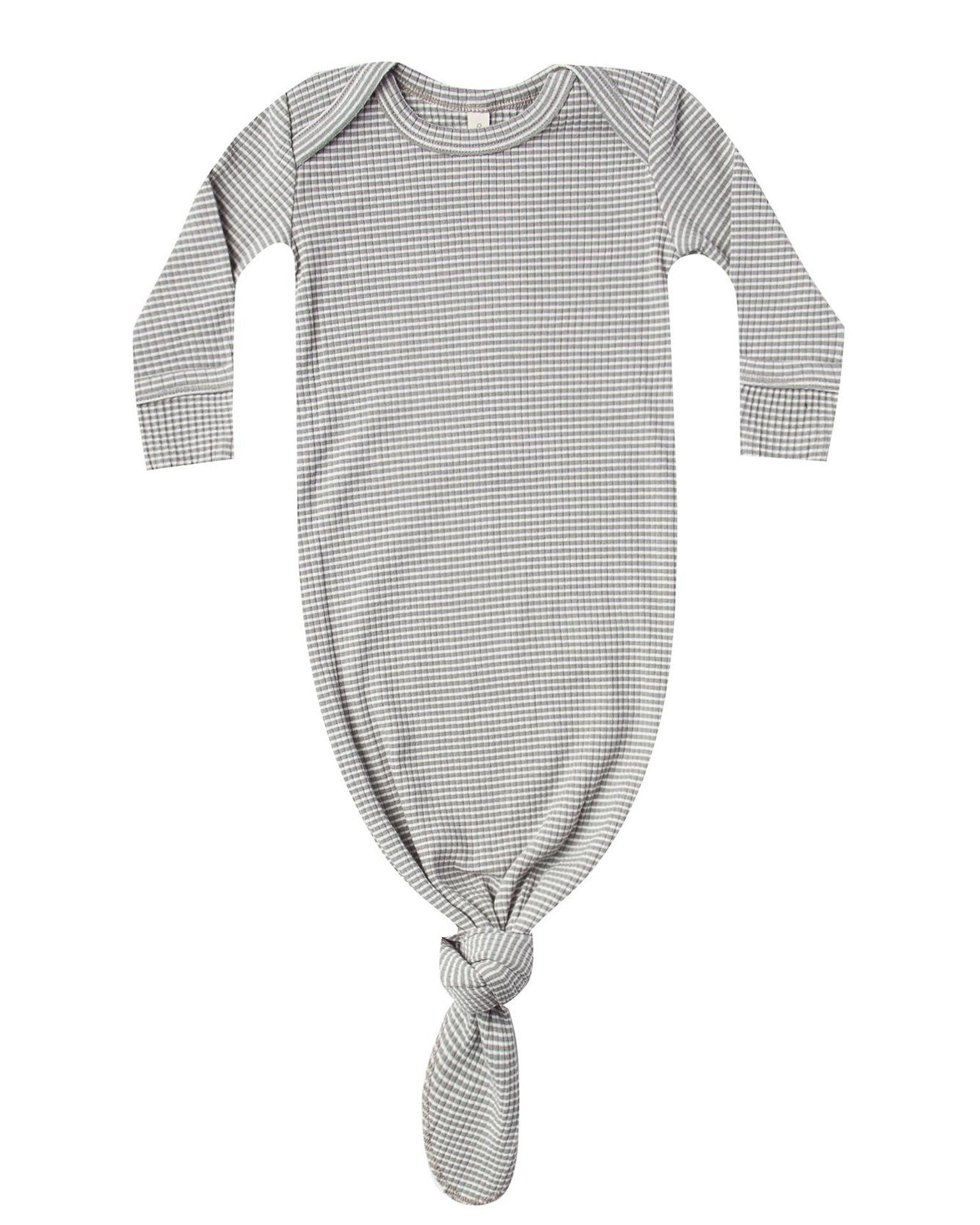 Little quincy mae layette ribbed knotted baby gown in eucalyptus stripe