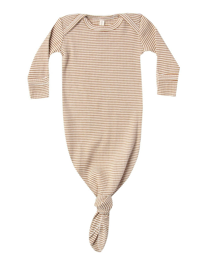 Little quincy mae layette ribbed knotted baby gown in walnut stripe