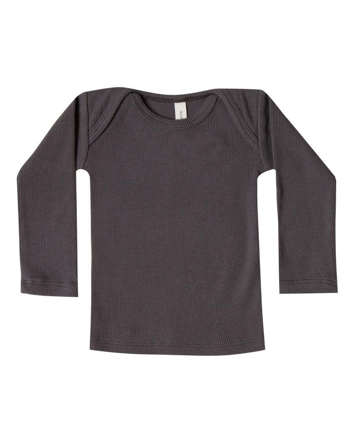 Little quincy mae baby boy 0-3 ribbed lap tee in coal