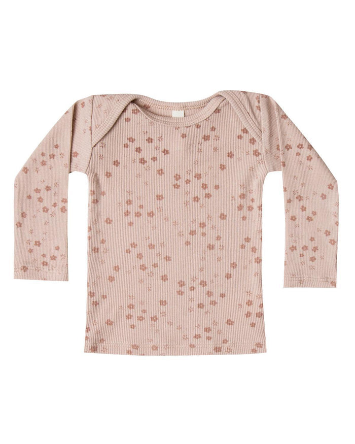 Little quincy mae baby girl 0-3 ribbed lap tee in rose