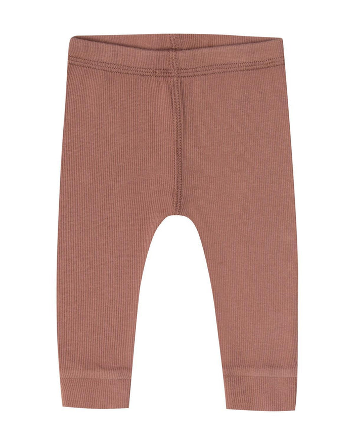 Little quincy mae baby boy 0-3 ribbed legging in clay