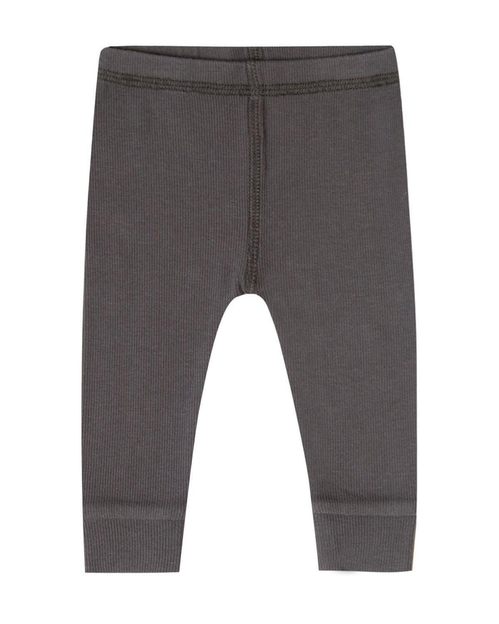 Little quincy mae baby boy 0-3 ribbed legging in coal