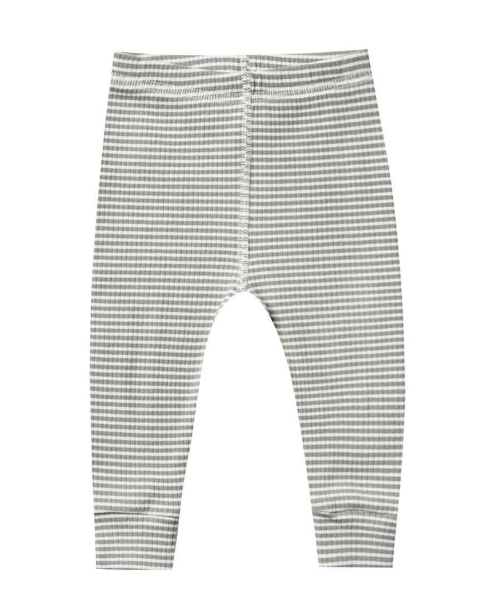 Little quincy mae baby girl ribbed legging in eucalyptus stripe