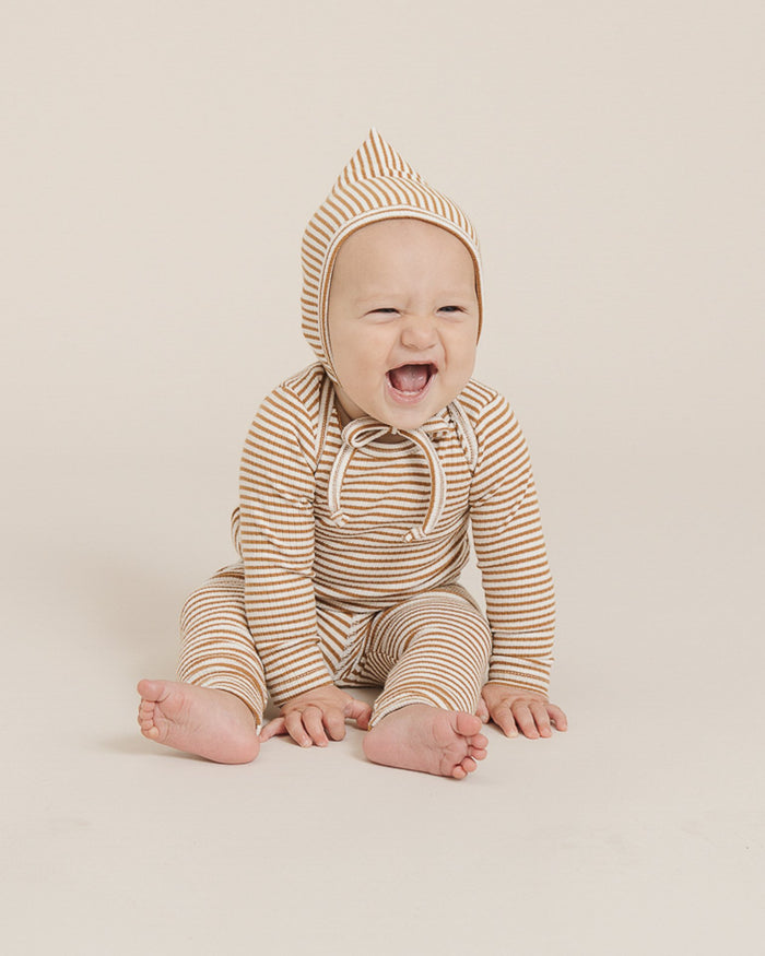 Little quincy mae baby girl ribbed legging in walnut stripe