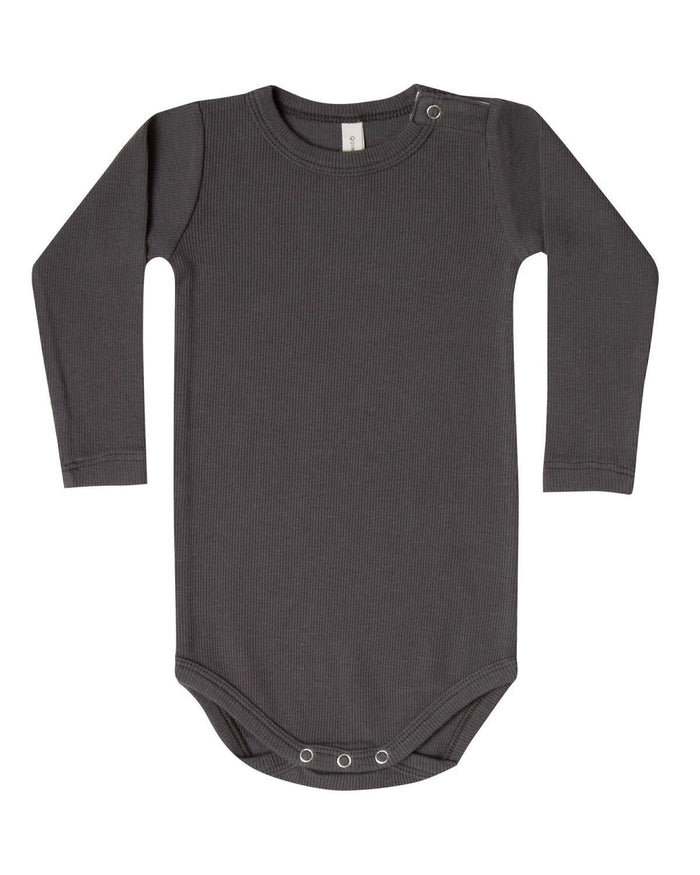 Little quincy mae baby boy 0-3 ribbed long sleeve onesie in coal