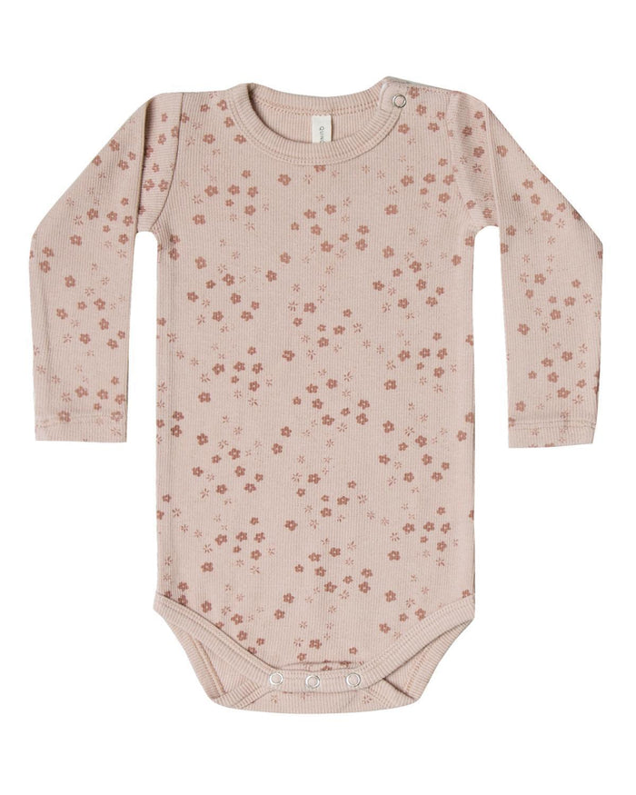 Little quincy mae baby girl 0-3 ribbed long sleeve onesie in rose