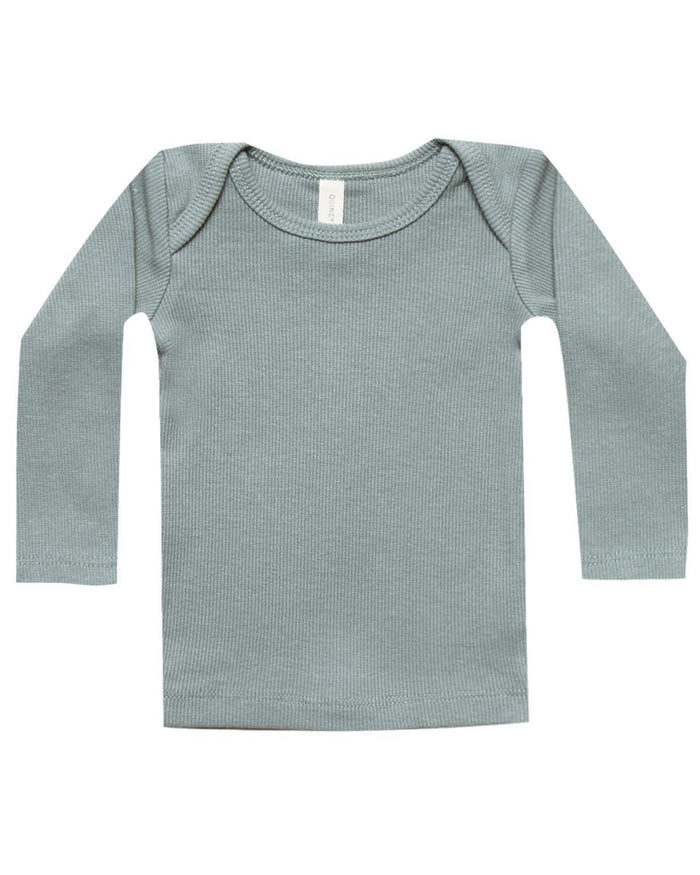 Little quincy mae baby girl 0-3 ribbed longlseeve lap tee in sea