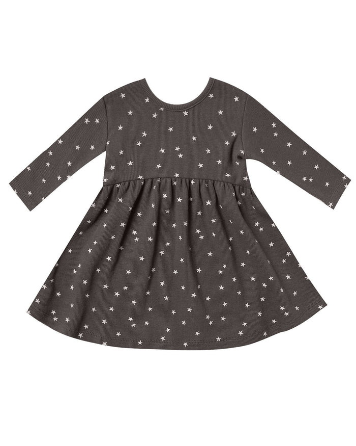 Little quincy mae baby girl ribbed longsleeve dress in coal