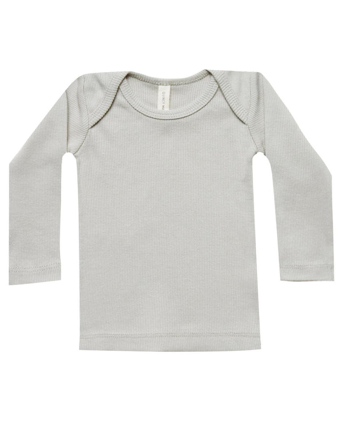 Little quincy mae baby girl 0-3 ribbed longsleeve lap tee in ash