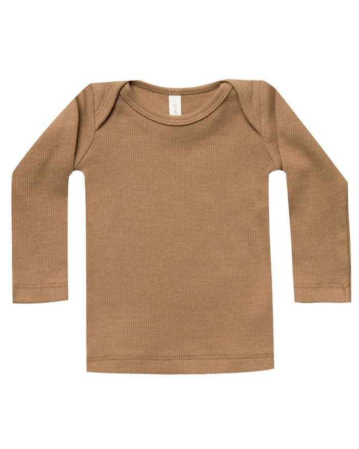 Little quincy mae baby girl 0-3 ribbed longsleeve lap tee in copper