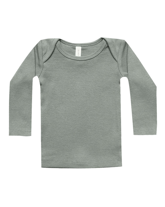 Little quincy mae baby girl ribbed longsleeve lap tee in eucalyptus