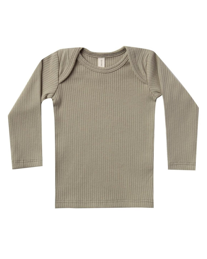 Little quincy mae baby girl 2-3 ribbed longsleeve lap tee in olive