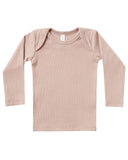 Little quincy mae baby girl ribbed longsleeve lap tee in petal