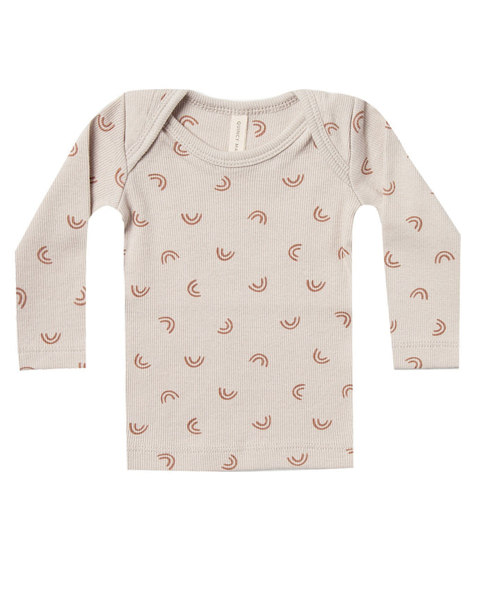 Little quincy mae baby girl ribbed longsleeve lap tee in stone