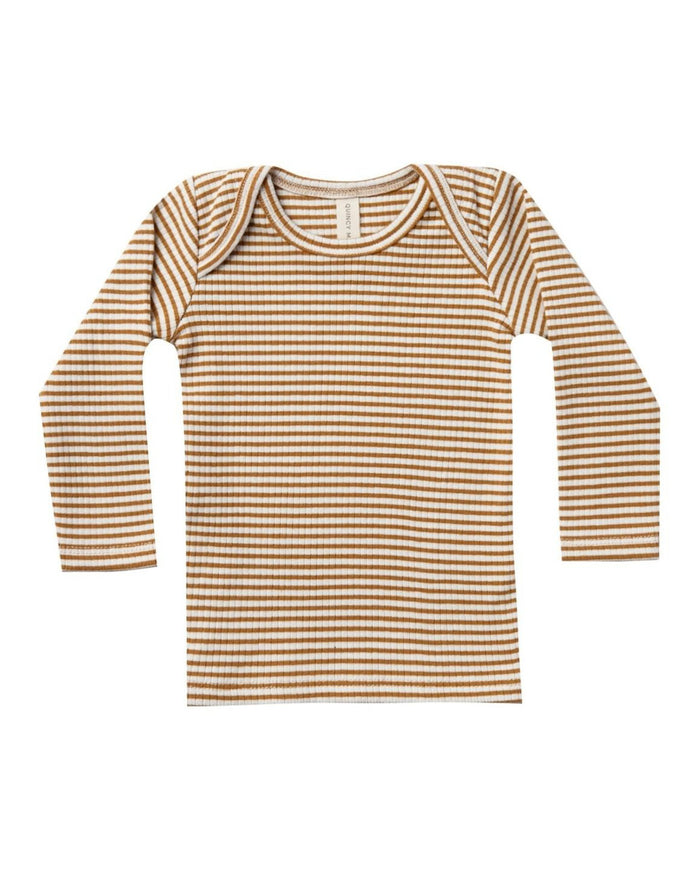 Little quincy mae baby girl ribbed longsleeve lap tee in walnut stripe